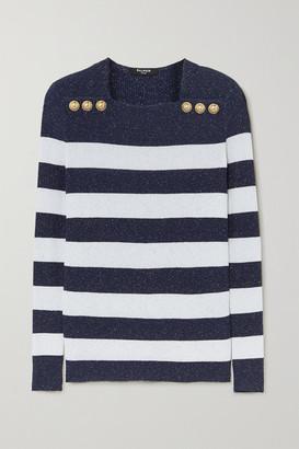 Balmain Button-embellished Metallic Striped Ribbed-knit Sweater - White