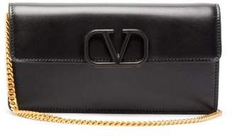 Valentino V-sling Small Chain-strap Leather Clutch - Womens - Black