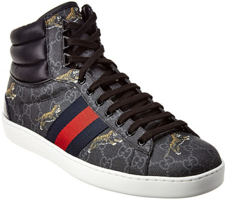 Gucci Ace Hi-Top Tiger Leather Sneaker