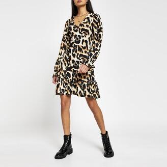 River Island Womens Beige leopard print frill hem mini dress