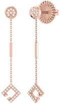 Lmj Straight Lace Street Earrings In 14 Kt Rose Gold Vermeil On Sterling Silver