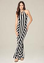 Bebe Logo Striped Maxi Dress