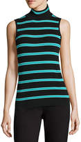 Liz Claiborne Sleeveless Turtleneck Stripe Pullover Sweater