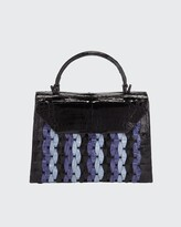 Thumbnail for your product : Nancy Gonzalez Lily Medium Woven Straw/Crocodile Top-Handle Bag