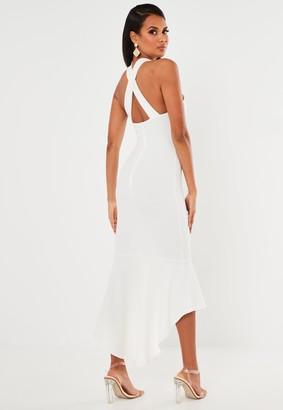 Missguided White Halterneck Frill Hem Midi Dress