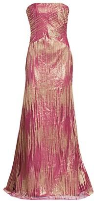 Rene Ruiz Collection Strapless Metallic Gown