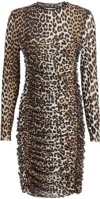 Ganni Leopard Ruched Mini Dress
