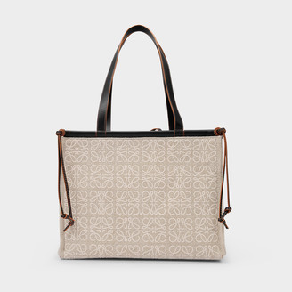 Loewe Cushion Tote Anagram Bag In Beige Canvas