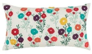 """Rizzy Home Floral Decorative Pillow Cover, 26"""" x 14"""""""