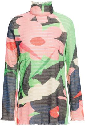 Roksanda Floral-print Plisse-jersey Top
