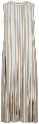 BODICE Ecru Pleated Silk Midi Dress