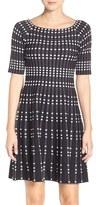 Eliza J Geometric Knit Fit & Flare Dress