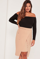 Missguided Plus Size Wrap Tie Side Midi Skirt Nude