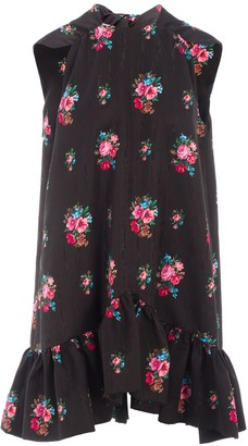 MSGM Floral Print Ruffle Dress