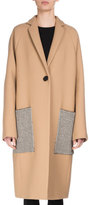 Proenza Schouler Long Patch-Pocket Wool Coat, Camel