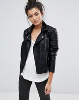Noisy May Leather Look Biker Jacket