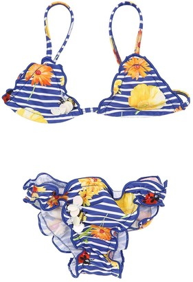 Selini Action Striped Floral Print Lycra Bikini
