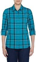 Allison Daley Petites Long Roll-Tab Sleeve Windowpane Plaid Button Front Shirt