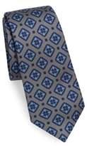 Kiton Square Medallion Print Silk Tie
