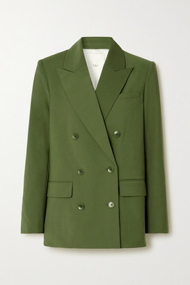 Tibi Double-breasted Woven Blazer - Army green