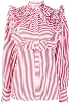 MSGM Ruffle-Trim Striped Shirt