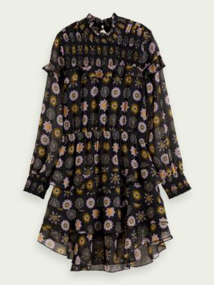 Scotch & Soda Drapey printed long sleeve ruffle dress | Girls