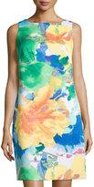 Donna Ricco Sleeveless Floral-Print Sheath Dress, White/Multi