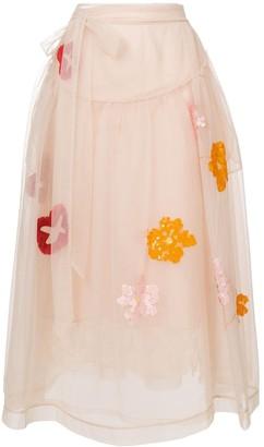 Simone Rocha Sequin Embroidery Tulle Skirt