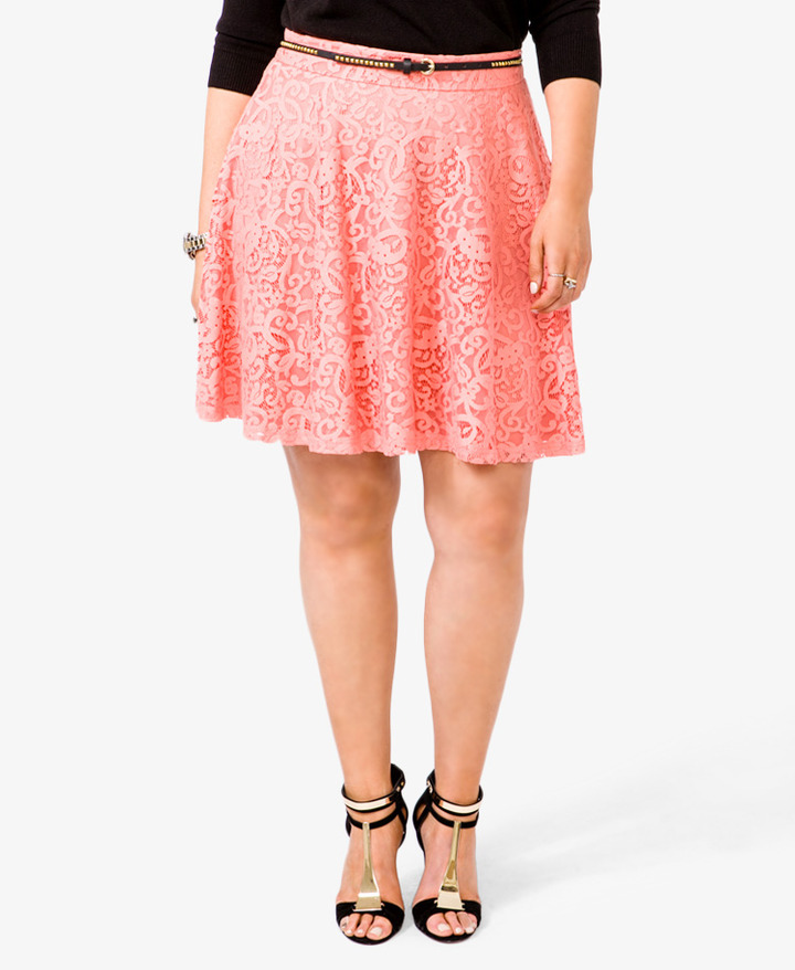Forever 21 FOREVER 21+ A-Line Lace Skirt