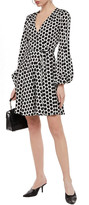 Thumbnail for your product : Milly Gathered Polka-dot Satin-twill Mini Wrap Dress