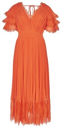Self-Portrait Orange midi dress