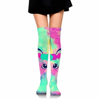 Wh Cla Stocking Cotton Candy Unicorn Galaxy Thigh High Socks Novelty Long Socks Cosplay Printed Dress Girls Over Knee Leg Warmers Casual Womens Compression Socks Outdoor Over Knee High B