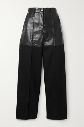 Peter Do Fireman Cropped Paneled Leather And Twill Straight-leg Pants - Black
