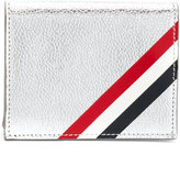 Thom Browne Double Card Holder With Red, White And Blue Diagonal Stripe In Silver Pebble Grain & Calf Leather