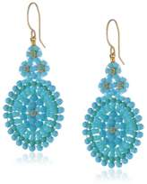 Miguel Ases Turquoise Small Oval Drop Earrings, 2""