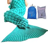 "MOFANG FAMILY Soft Mermaid Tail Blanket Sofa Quilts Sleeping Bag for kids Adult 71""x36"" SCALE GREEN with Carry Pouch and Washing Bag"