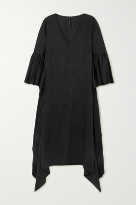 Mother of Pearl + Net Sustain Melody Fringed Draped Lyocell Midi Dress - Black