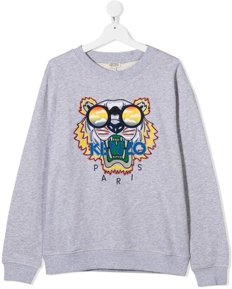 Kenzo Kids TEEN Tiger embroidered cotton sweatshirt