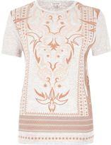 River Island Womens Pink textured print T-shirt