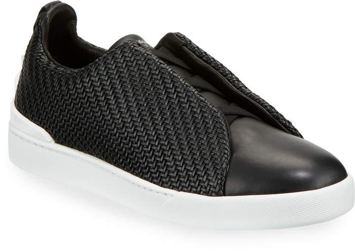 3406992d Men's Pelle Tessuta Triple-Stitch Slip-On Sneakers, Black