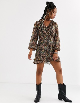 Topshop mini dress with ruffle detail in floral print