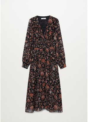 MANGO Vintage Floral Midi Dress - Black