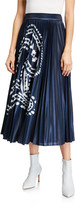 Escada Paisley Print Metallic Midi Skirt