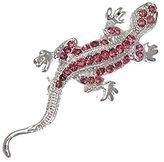 AJ Fashion Jewellery Lizard Silver tone Crystal Brooch