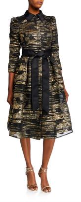 Rickie Freeman For Teri Jon Metallic Striped Organza 3/4-Sleeve Shirtdress