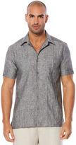 Cubavera 100% Linen Short Sleeve Slim Fit Tucks 2 Pocket Shirt