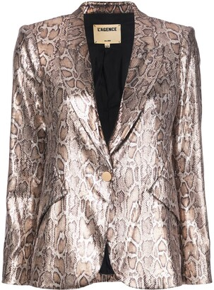 L'Agence Sequin Leopard Print Blazer