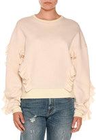 Stella McCartney Ruffled Crewneck Sweatshirt, Ivory