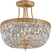 Swarovski Crystorama Three-Light Clear Brass Semi-Flush Ceiling Light