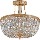 Swarovski Crystorama Three-Light Clear Brass Semi-Flush Ceiling Light